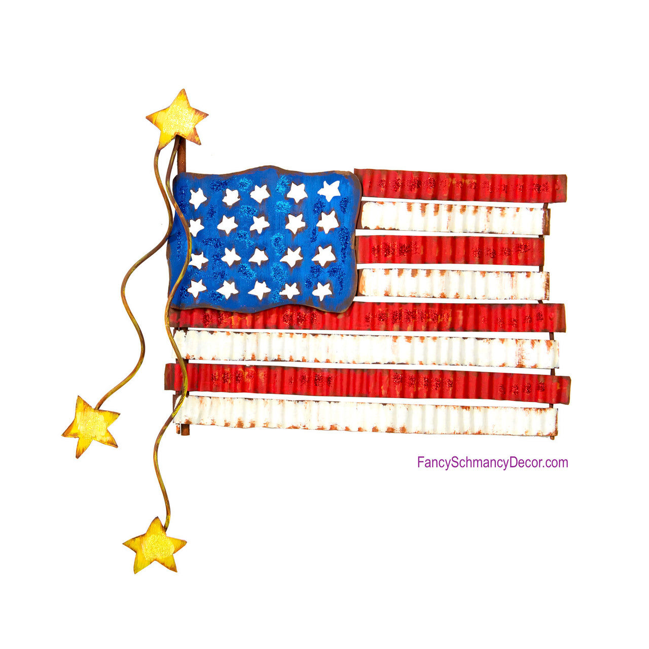 Pie Crust American Flag Stake by The Round Top Collection A18012