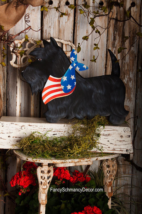 Patriotic Large Black Scottie Stake by The Round Top Collection A7021 - FancySchmancyDecor