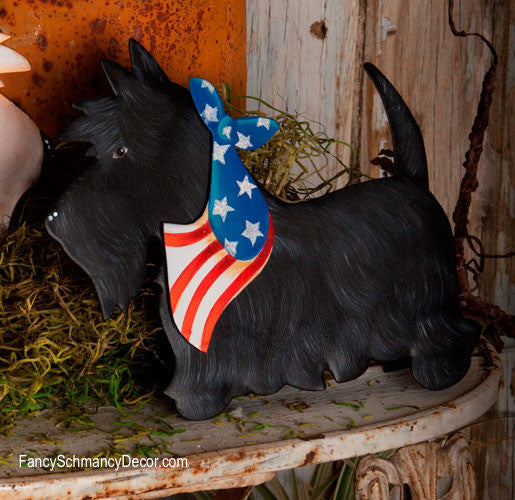 Patriotic Small Black Scottie Stake by The Round Top Collection A7022 - FancySchmancyDecor