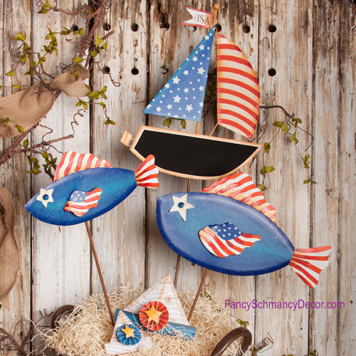 Patriotic Fish Stakes by The Round Top Collection A7028 - FancySchmancyDecor