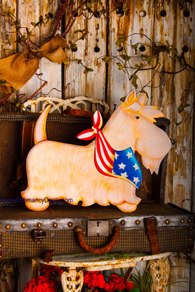 Patriotic White Scottie Large Stake by The Round Top Collection A7038 - FancySchmancyDecor