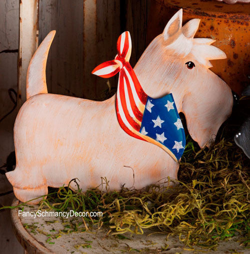 Patriotic Small White Scottie Stake by The Round Top Collection A7039 - FancySchmancyDecor