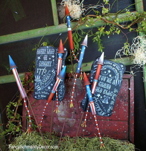 Bottle Rockets on Chalkboard Assorted Set of 2 Stakes by The Round Top Collection A8003 - FancySchmancyDecor