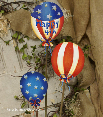 Happy 4th Balloons Small Assorted Set of 3 Stakes by The Round Top Collection A8012 - FancySchmancyDecor