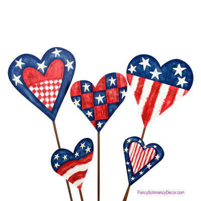 Hearts of America Assorted Set of 5 Stakes by The Round Top Collection A9009