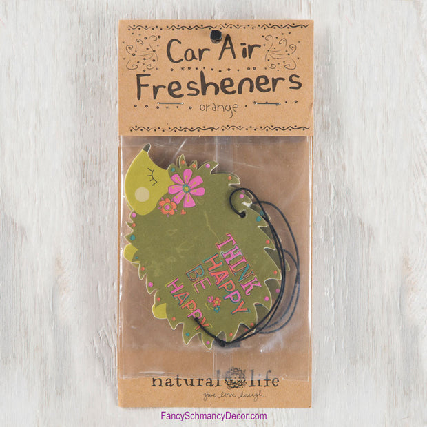 """Think Happy Be Happy"" Green Hedgehog Air Freshener by Natural Life - FancySchmancyDecor"