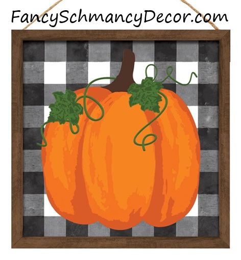 "10""Sq Pumpkin On Check Sign W/Wood Frame"