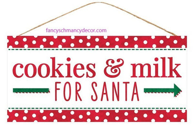 "12.5 ""L X 6"" H Cookies & Milk for Santa Sign"
