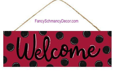 "15"" L X 5"" H Welcome Red Black Dots Sign"