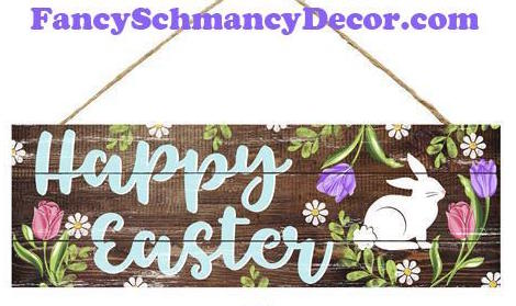 "15"" L X 5"" H Happy Easter Sign"