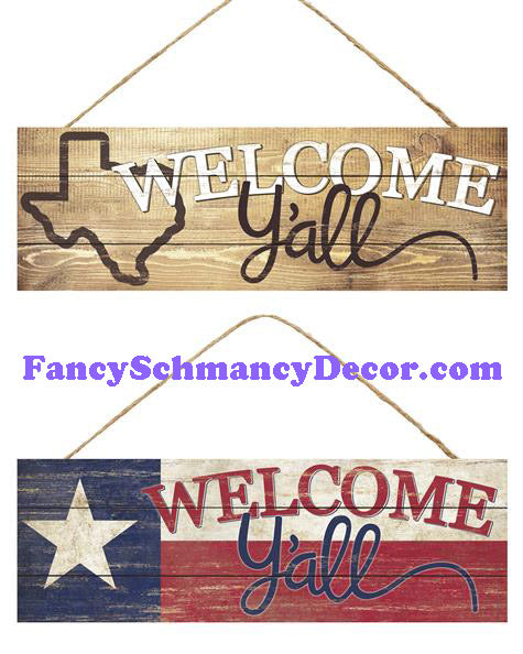 "15"" L X 5"" H Welcome Y'all/Texas Star Sign"