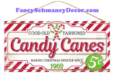 "12.5"" L x 6"" W Candy Canes Sign"