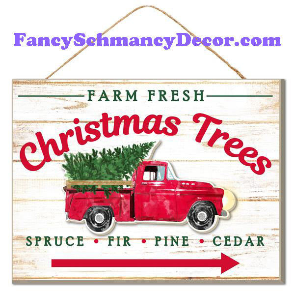 "15.75"" L x 11.75"" H Fresh Christmas Trees Sign"