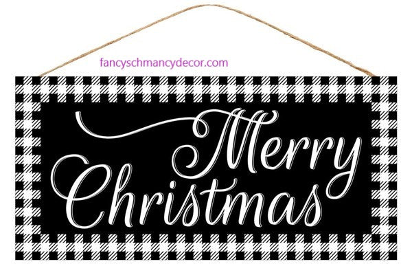 Black Gingham Merry Christmas Sign by Craig Bachman Imports