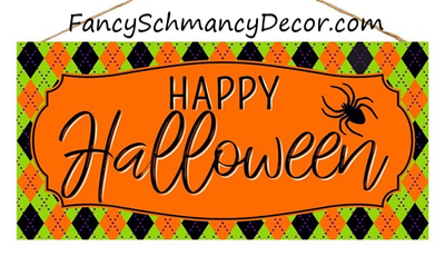 "12.5""L X 6""H Happy Halloween Sign"