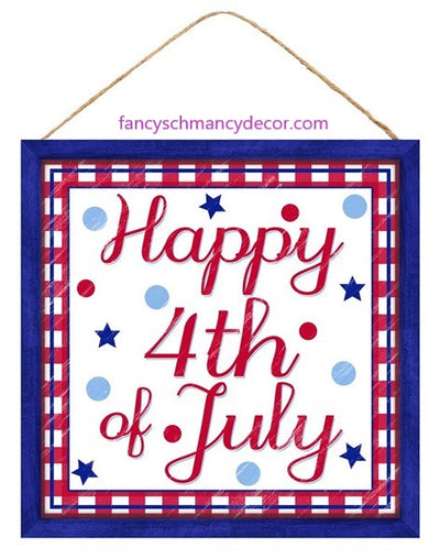 "10""Sq Mdf ""Happy 4Th Of July"" Sign"