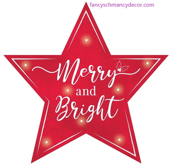 "12""L Merry/Bright Star Sign W/Lights"