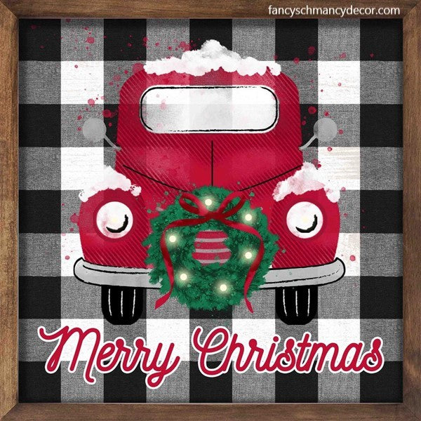 "10""Sq Truck/Wreath/Check Sign W/Lights"
