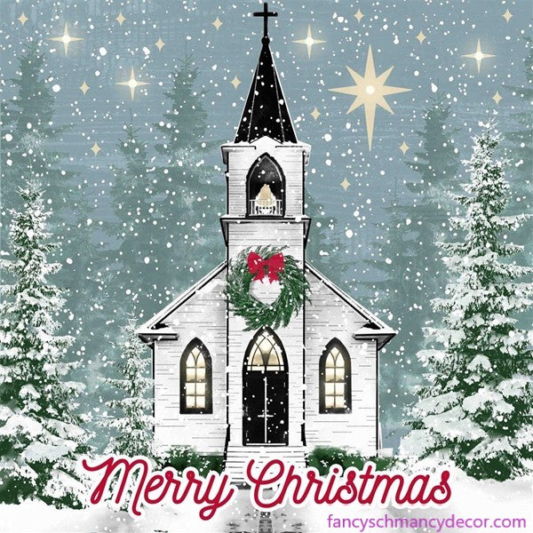 "10""Sq Winter Church Sign W/Lights"