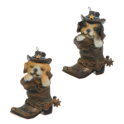 Raz Imports Dog in Boot Ornament