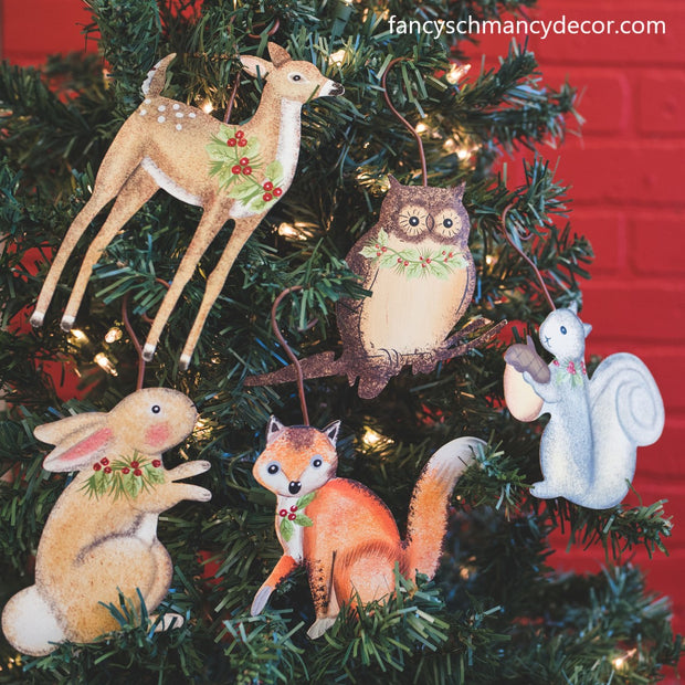Woodland Animal Ornaments Assorted Set of 5 by The Round Top Collection