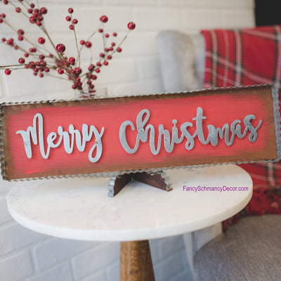 "Galvanized Rust Red ""Merry Christmas"" Small Sign by The Round Top Collection F17056"