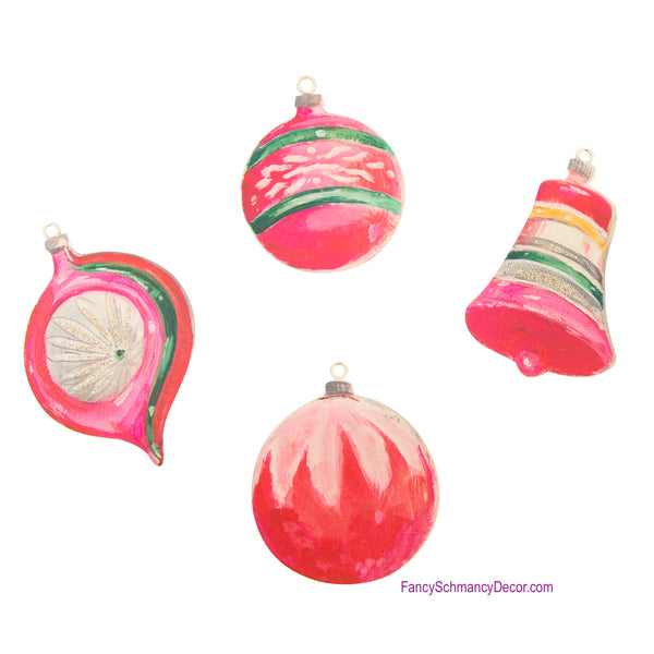 Vintage Pink Ornament Magnets Assorted Set of 4 Ornaments - The Round Top Collection