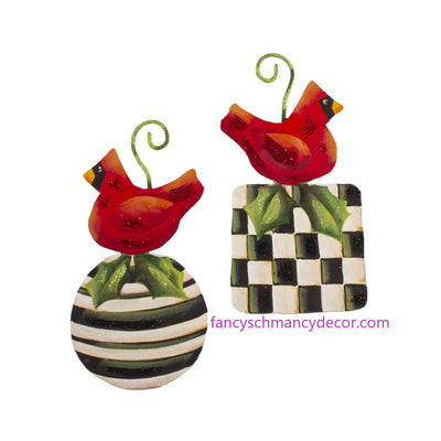 Elegant Red Bird Ornaments Assorted Set of 2 by The Round Top Collection