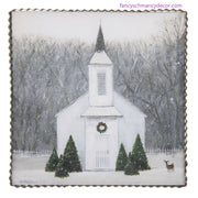 Wintry Church Print by The Round Top Collection