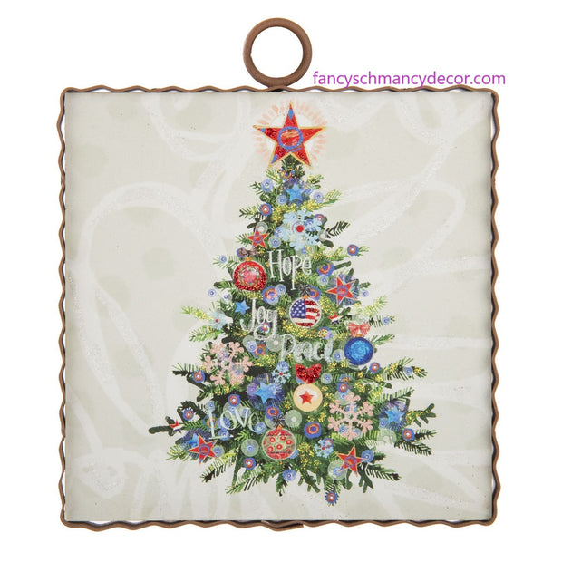 "Mini ""Hope, Joy, Peace"" Christmas Tree Print by The Round Top Collection"