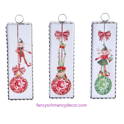 Silly Elf on an Ornament Print by The Round Top Collection