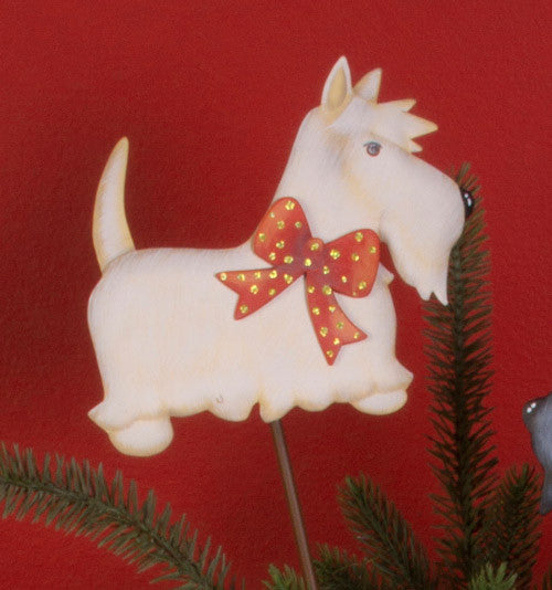 Large White Scottie Stake The Round Top Collection - FancySchmancyDecor
