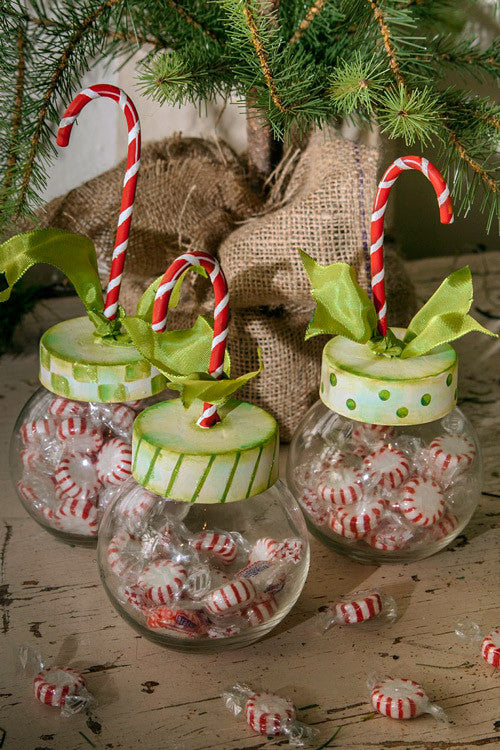 C8055 Candy Cane Jars The Round Top Collection - FancySchmancyDecor