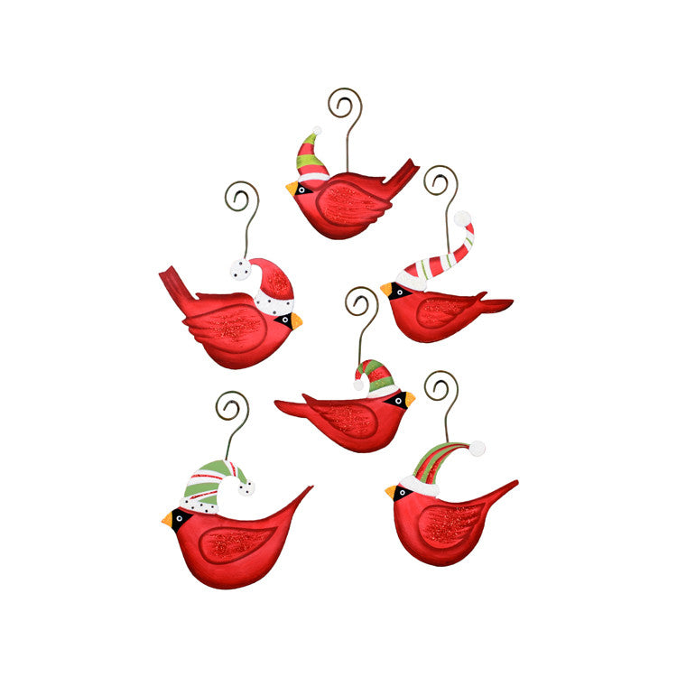 C9051 Ho Ho Birds in Hats Ornament (Assorted Set of 6) - The Round Top Collection - FancySchmancyDecor