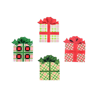 C9054 Plaid Gift Box Magnets- Assorted Set of 4 - FancySchmancyDecor