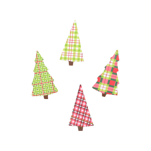 C9055 Plaid Tree Magnets- Assorted Set of 4 - FancySchmancyDecor