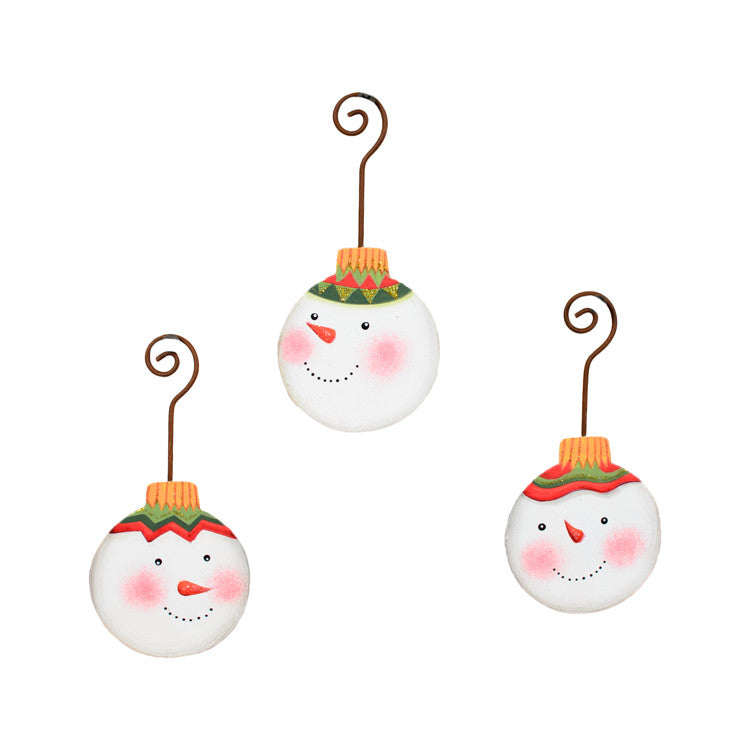 C9066 Joy Snowman Ornament (Assorted Set of 3) - The Round Top Collection C - FancySchmancyDecor