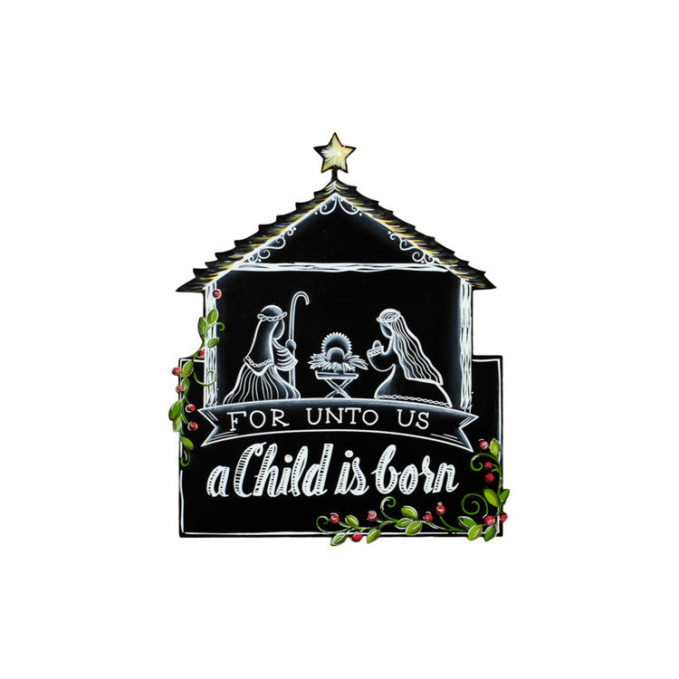 C9102 Chalkboard Nativity The Round Top Collection - FancySchmancyDecor