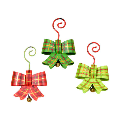 Plaid Bow Ornaments- Asst. 3 The Round Top Collection C9108 - FancySchmancyDecor