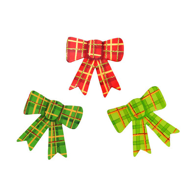 C9109 Plaid Bow Magnets- Assorted Set of 3 The Round Top Collection - FancySchmancyDecor