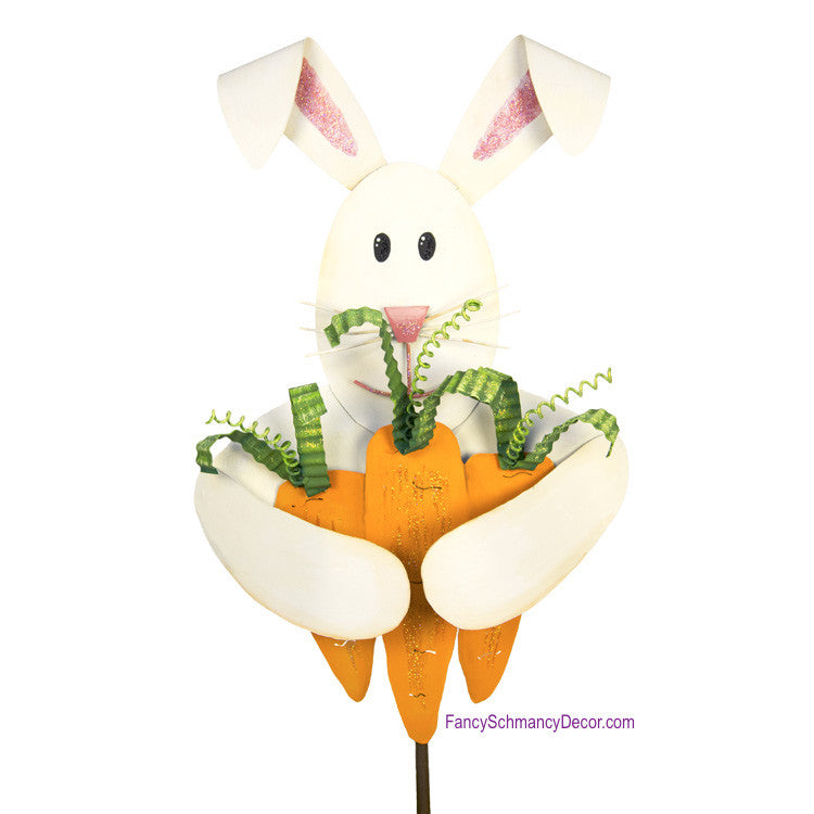 Rabbit with Carrot Bouquet Stake by The Round Top Collection E17014