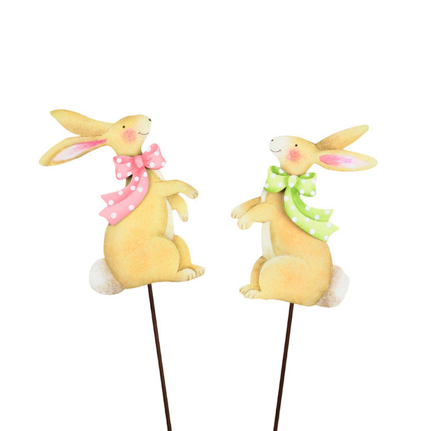 Pastel Rabbits with Bows Stake by The Round Top Collection E9031 - FancySchmancyDecor