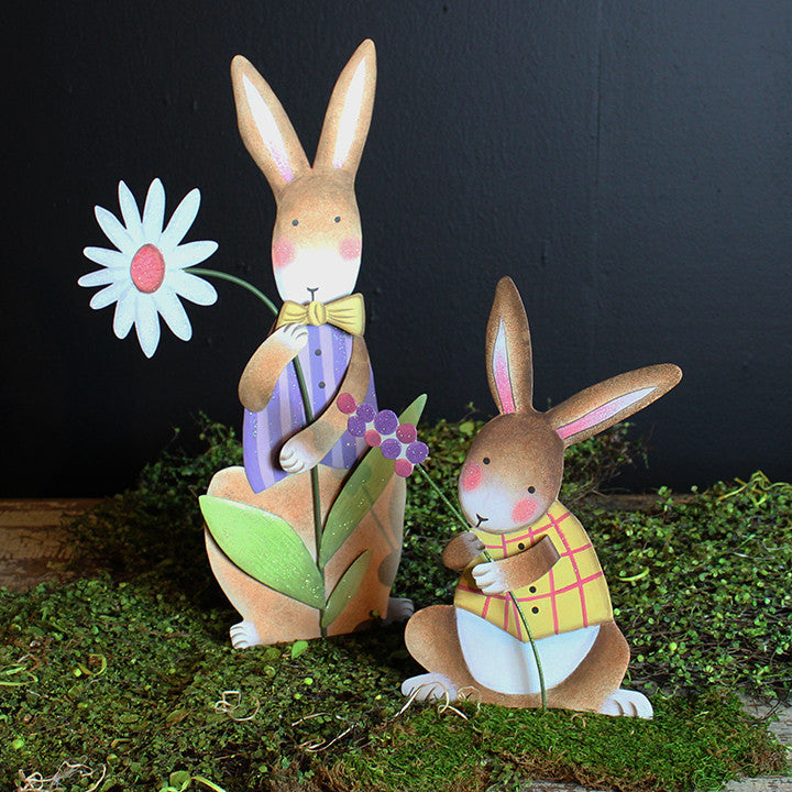 Pastel Rabbit with Vest and Daisy by The Round Top Collection E9033 - FancySchmancyDecor - 1