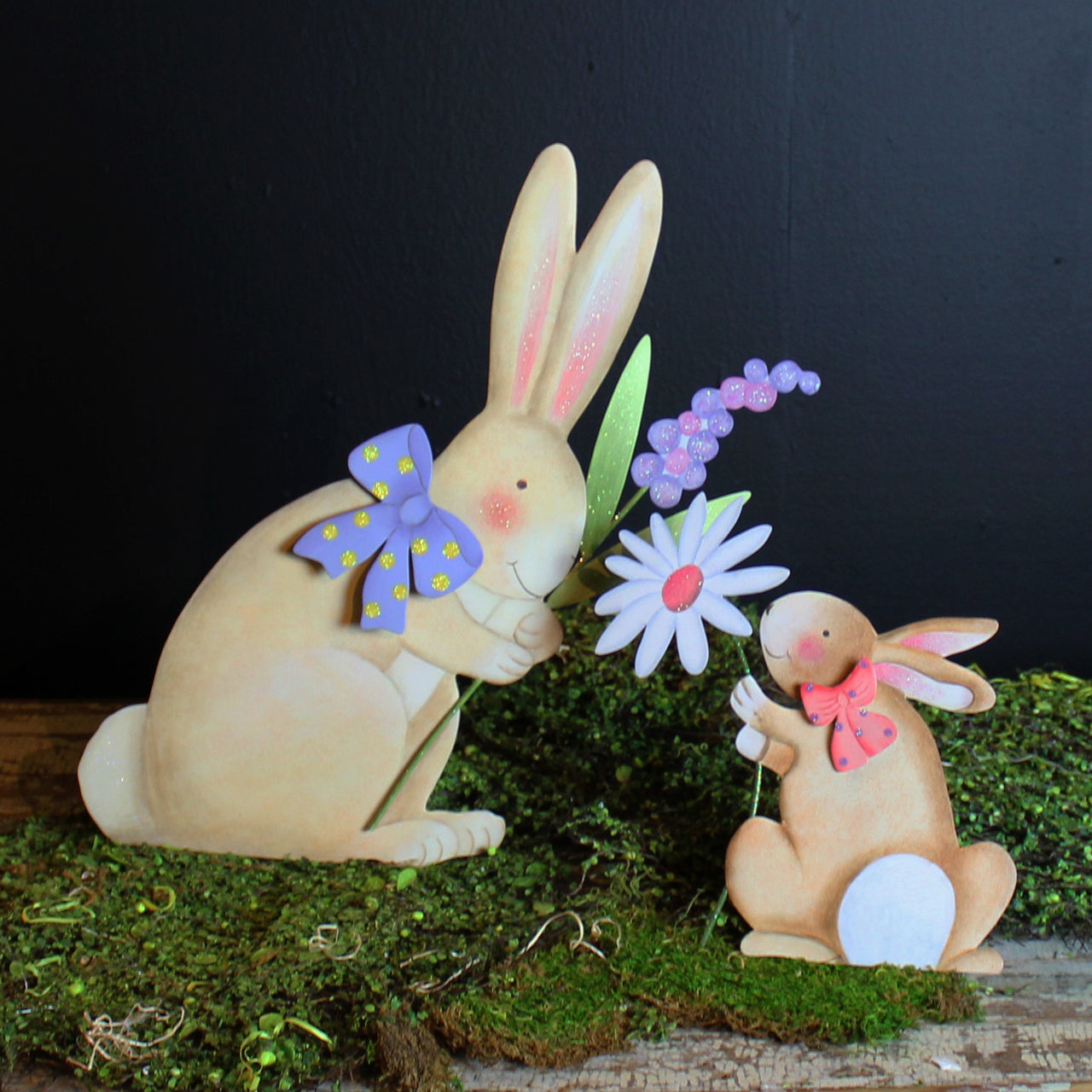 Pastel Rabbit with Bow and Purple Flower by The Round Top Collection E9034 - FancySchmancyDecor - 1