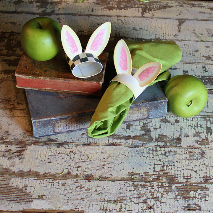 Bunny Ear Cream Napkin Ring by The Round Top Collection - FancySchmancyDecor - 1