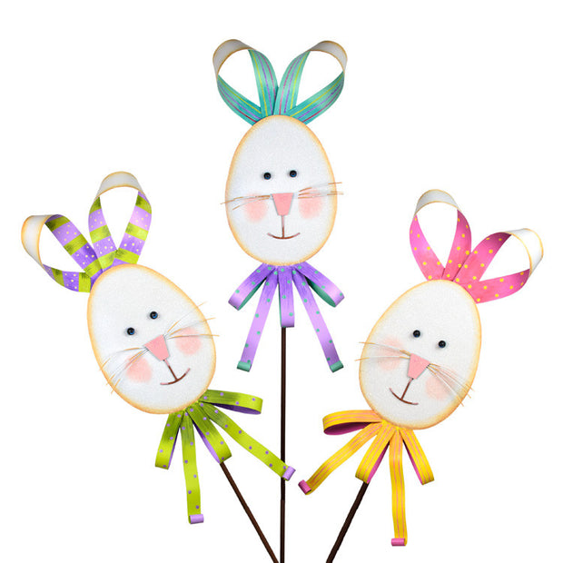 Ribbon Rabbits Large Stake The Round Top Collection E9075 - FancySchmancyDecor - 2