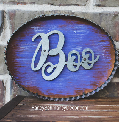 "Galvanized Rust Purple ""Boo"" Sign by The Round Top Collection F17046"