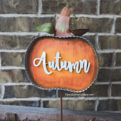 "Galvanized Rust Orange ""Autumn"" Pumpkin by The Round Top Collection F17050"