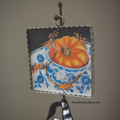 Blue & White Pumpkin Art by The Round Top Collection F18116