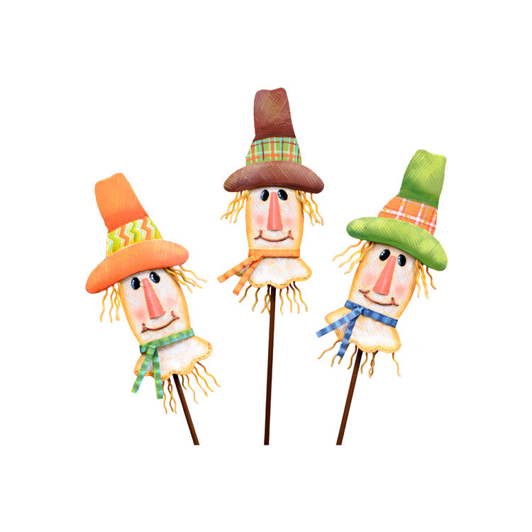 F9026 Patterned Scarecrow Head Trio The Round Top Collection - FancySchmancyDecor